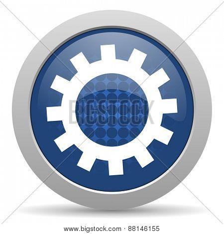 gear blue glossy web icon