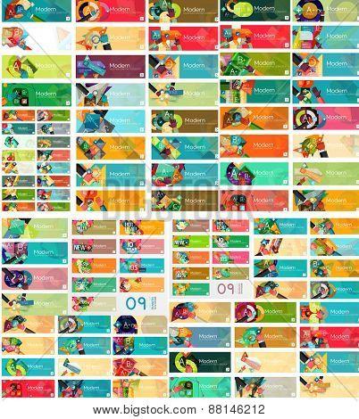 Mega set of universal web option infographic banners, modern flat design. Paper graphic