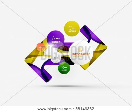 Abstract step infographic business layout - modern composition of geomtric shapes with light effects