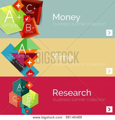 Flat design paper infographic banner set.  Color layouts with some business text and geometric elements
