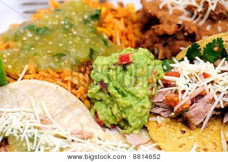 Carnitas With Rice And Refried Beans