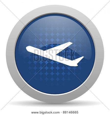 deparures blue glossy web icon
