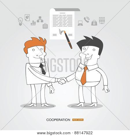 Infographics business background. C?oncept sign contract handshaking. Business people  surrounded by business icons.