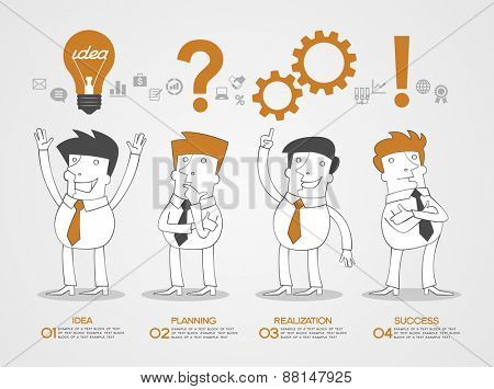 Concept design business idea, planning, realization and success. Business infographic background. Scribble people surrounded by business icons, text, numbers.