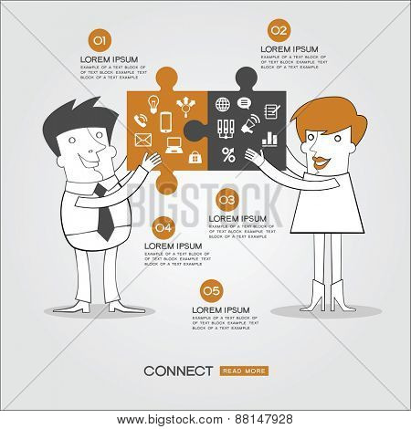 Infographics business background. People who have two puzzles to connect surrounded by business icons, text and numbers. Concept connect
