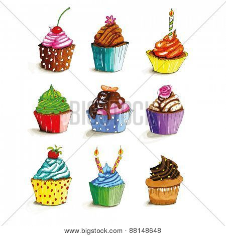 Colorful hand drawn cupcakes