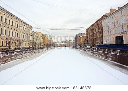 Frozen Canal In Saint-petersburg At The January