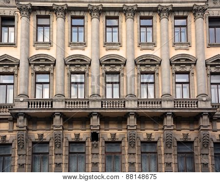 Architectural Background- Exterior Of The Old Building In Saint-petersburg