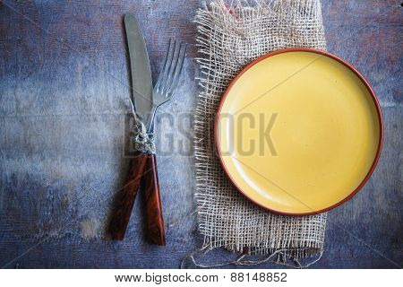 Table Setting On Wooden Table