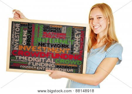 Young woman holding blackboard with crowdfunding concept as a tag cloud
