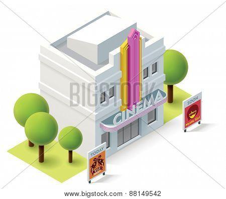 Vector isometric movie theater building icon