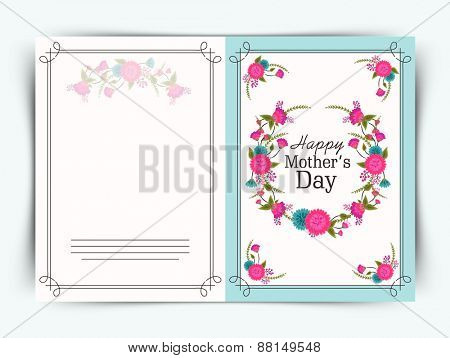 Elegant greeting card design decorated with beautiful flowers for Happy Mother's Day celebration.