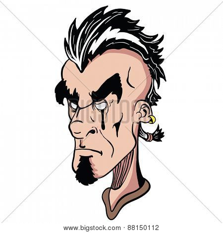 weird face with mohawk cartoon illustration