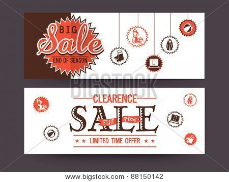 Stylish Big Sale website header or banner set with flat discount offer for limited time.