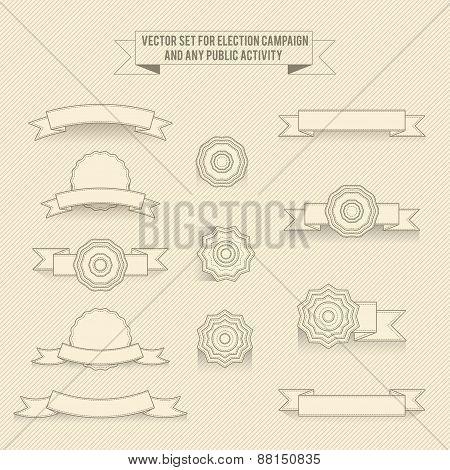 Set Of Vector Linear Monochrome Labels