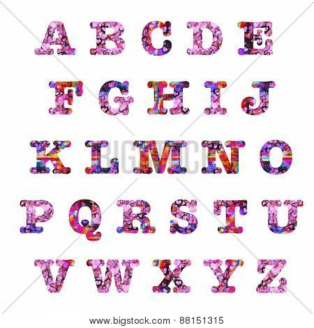 Hearts Capital Letters Alphabet