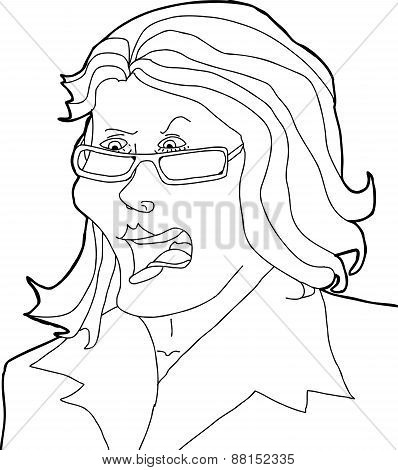 Outline Drawing Of Angry Lady