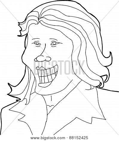 Outline Of Joyful Woman