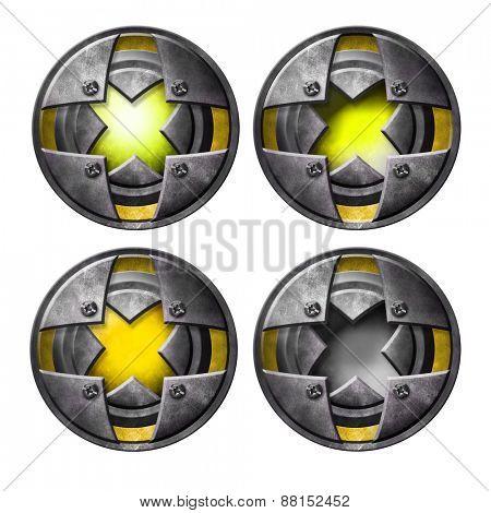 Yellow metal button