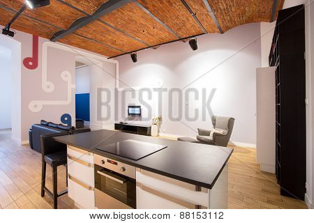 Modern Interior With Brick Ceiling