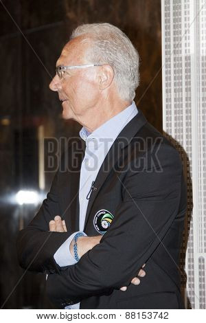 NEW YORK - APRIL 17, 2015: Soccer legend Franz Beckenbauer at the ceremony to light the Empire State Building New York Cosmos Green to launch and celebrate the start of the teams 2015 spring season.