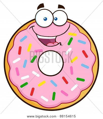 Happy Donut Cartoon Character With Sprinkles