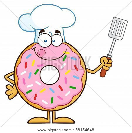 Chef Donut Cartoon Character With Sprinkles Holding A Slotted Spatula