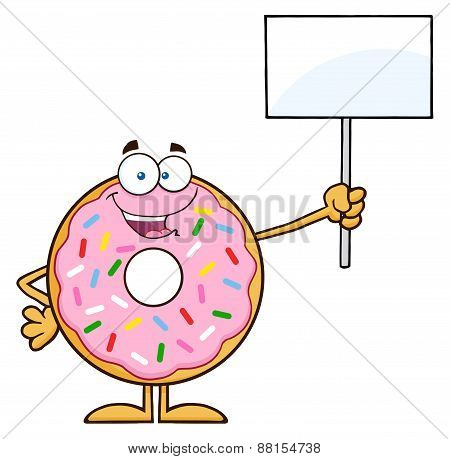 Happy Donut Cartoon Character With Sprinkles Holding Up A Blank Sign