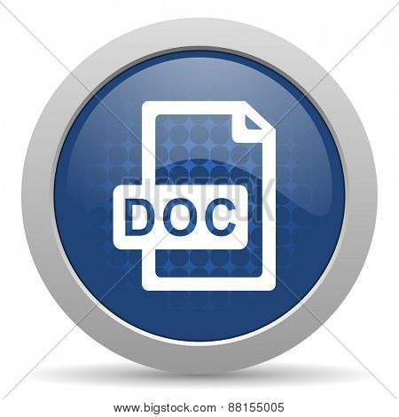 doc file blue glossy web icon
