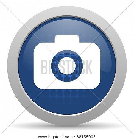 photo camera blue glossy web icon