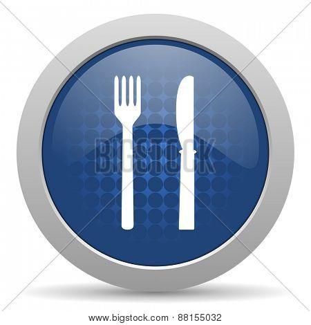 eat blue glossy web icon