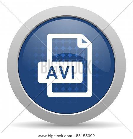 avi file blue glossy web icon