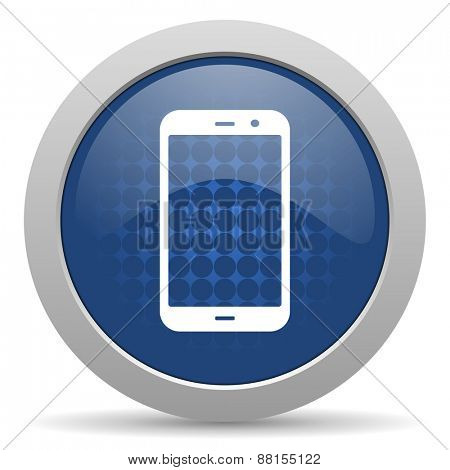 smartphone blue glossy web icon