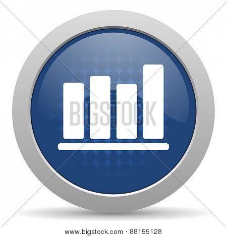 bar chart blue glossy web icon