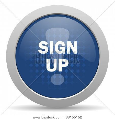 sign up blue glossy web icon