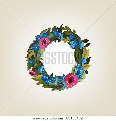 O letter. Flower  alphabet. Colorful font. Lowercase.  Vector illustration.