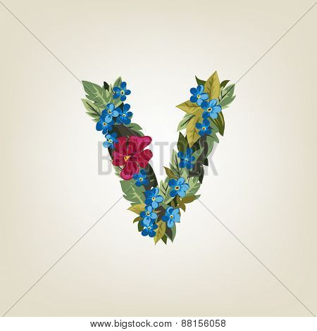 V letter. Flower  alphabet. Colorful font. Lowercase.  Vector illustration.