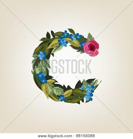C letter. Flower  alphabet. Colorful font. Lowercase.  Vector illustration.