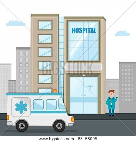 Big hospital building with ambulance and illustration of a smiling doctor.