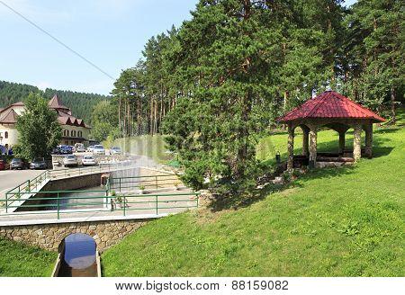 Gazebo and fountain in the Sanatorium Russia