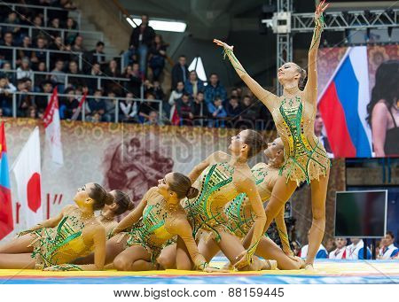 Russian National Gymnastics Aesthetic Team On A Tatami