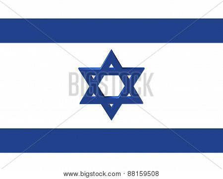 Stylized Image Of The Star Of David On The National Flag Of Israel