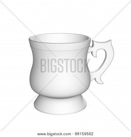 White Mug Large Capacity With A Pen Isolated
