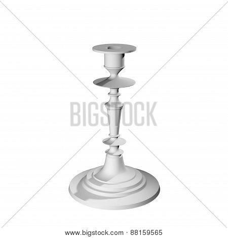 White Candlestick For One Candle Isolated