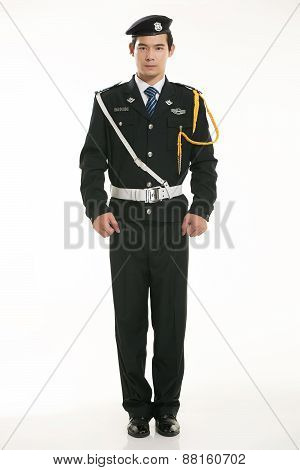 Create all kinds of work clothes policeman stands in front of a white background