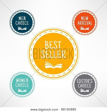 Bookshop choice sign set in simple and clean design. Book shop award labels. Internet library elemen