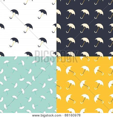 Umbrella seamless pattern in modern clean and simple design. Parasol background. Vector illustration