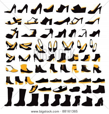 Silhouette Icons Set Of Fashion Footwear Four Seasons