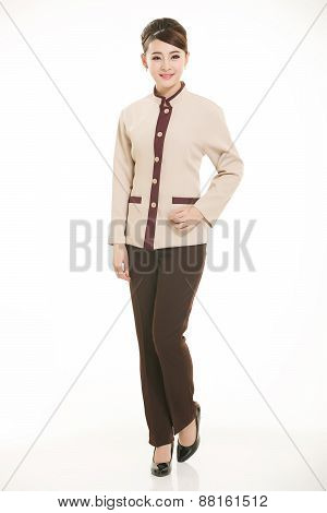 In a variety of occupation clothing cleaners stand in front of a white background