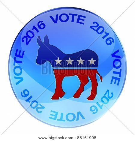 2016 Elections button shape with Democrats party icon and text